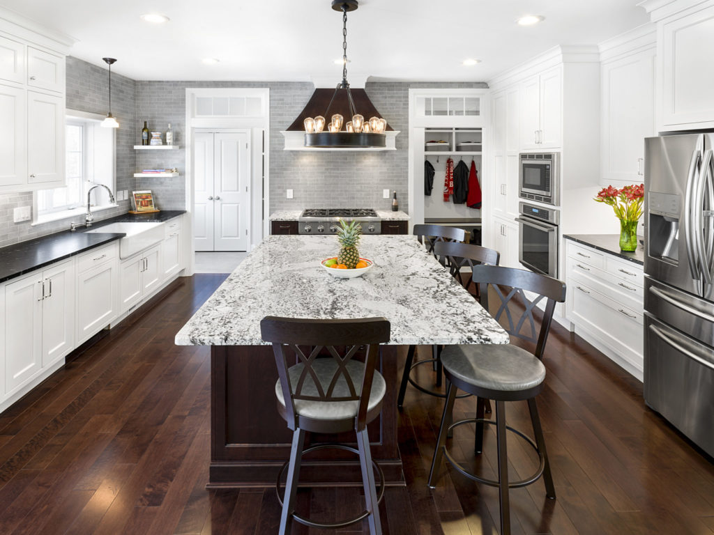 Via Lactea Granite Kitchen With Antique Ice Island