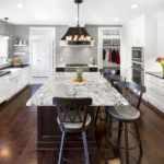 via lactea kitchen countertop with antique ice granite island